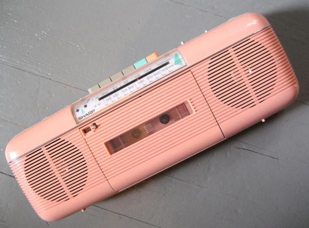 A late-'80s salmon pink Sharp boombox