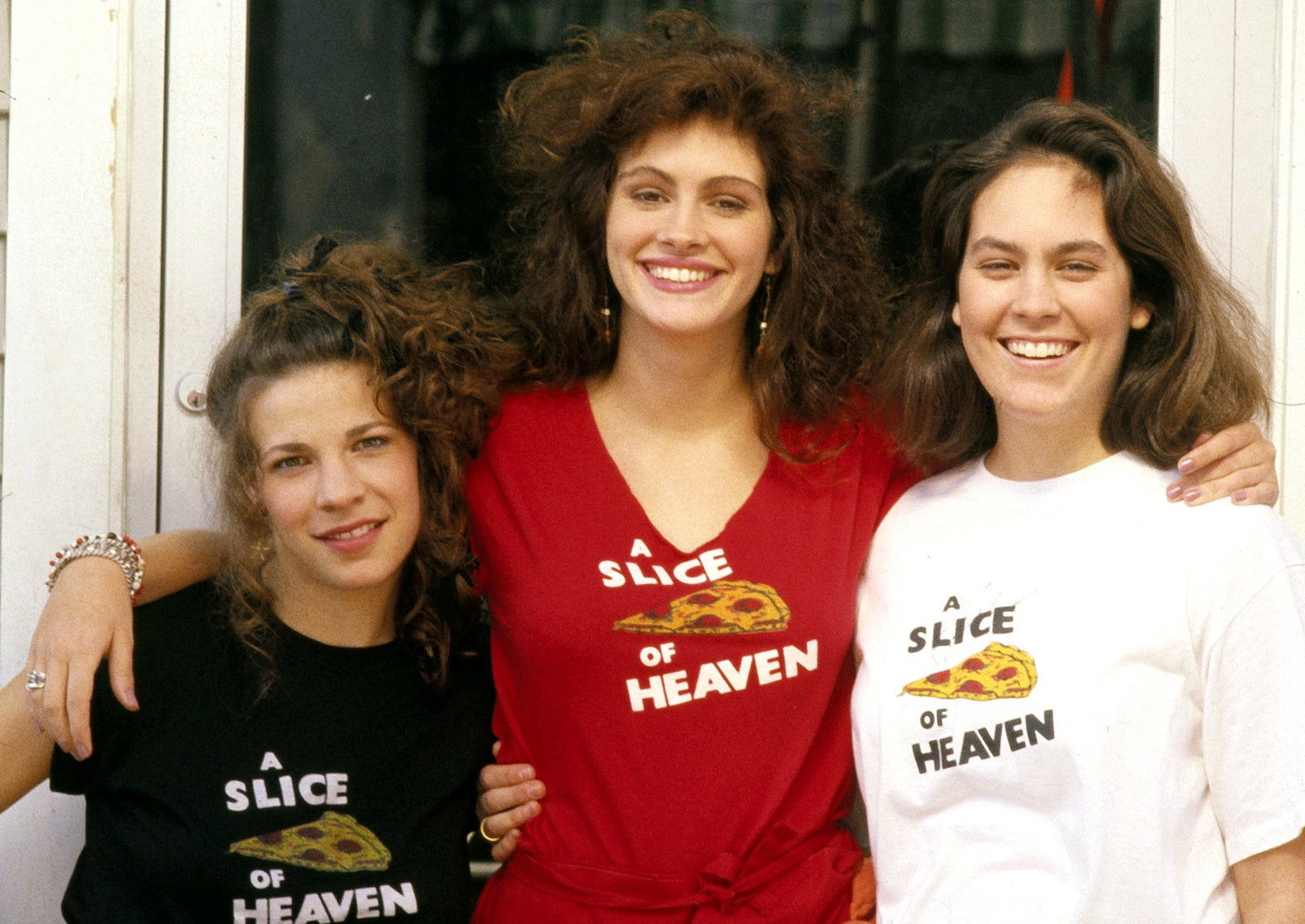 Julia Roberts with Lili Taylor and Annabeth Gish in her first major starring role in Mystic Pizza, 1988.