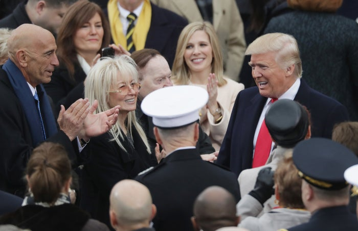 Sheldon and Miriam Adelson greet President Trump on inauguration day in 2017.