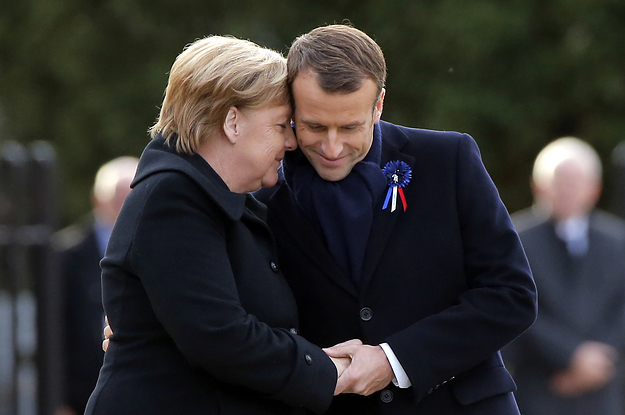 Merkel And Macron Embraced At A WW1 Memorial But Trump Couldn't Visit A Different Cemetery Due To Bad Weather