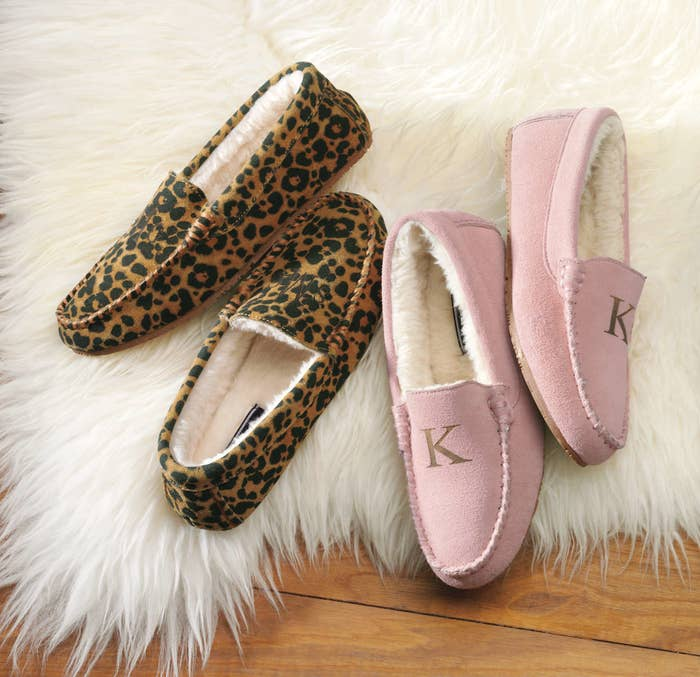 8e2eec7c34c0 A pair of suede moc-style slippers that ll keep their toes warm and look  stylish to boot. You can also get them monogrammed for a personalized touch.