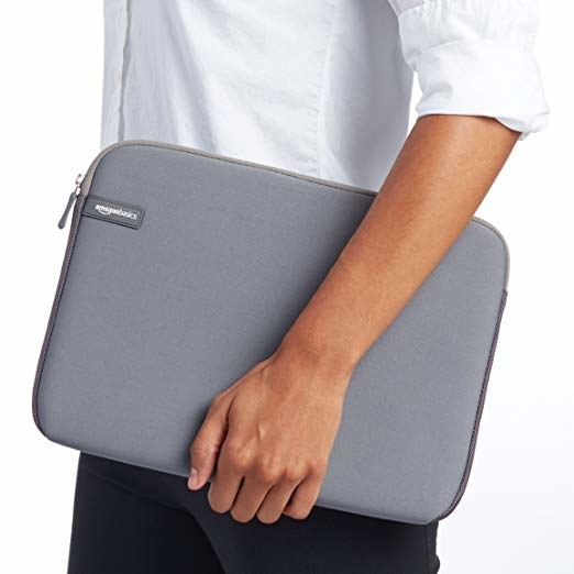 person carrying the AmazonBasics case