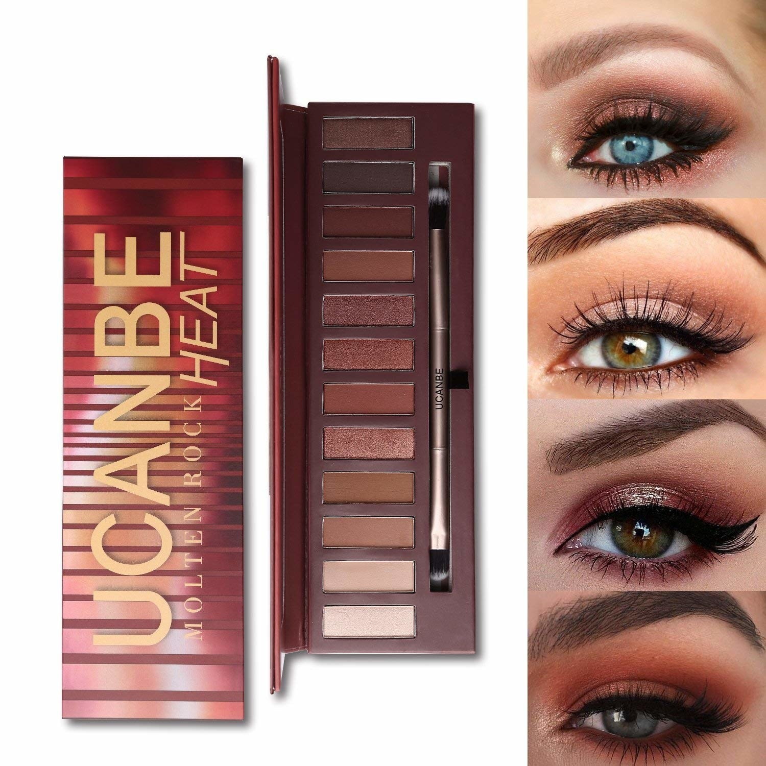 The Ucanbe palette with four models showing the smoky eye looks you can make from it