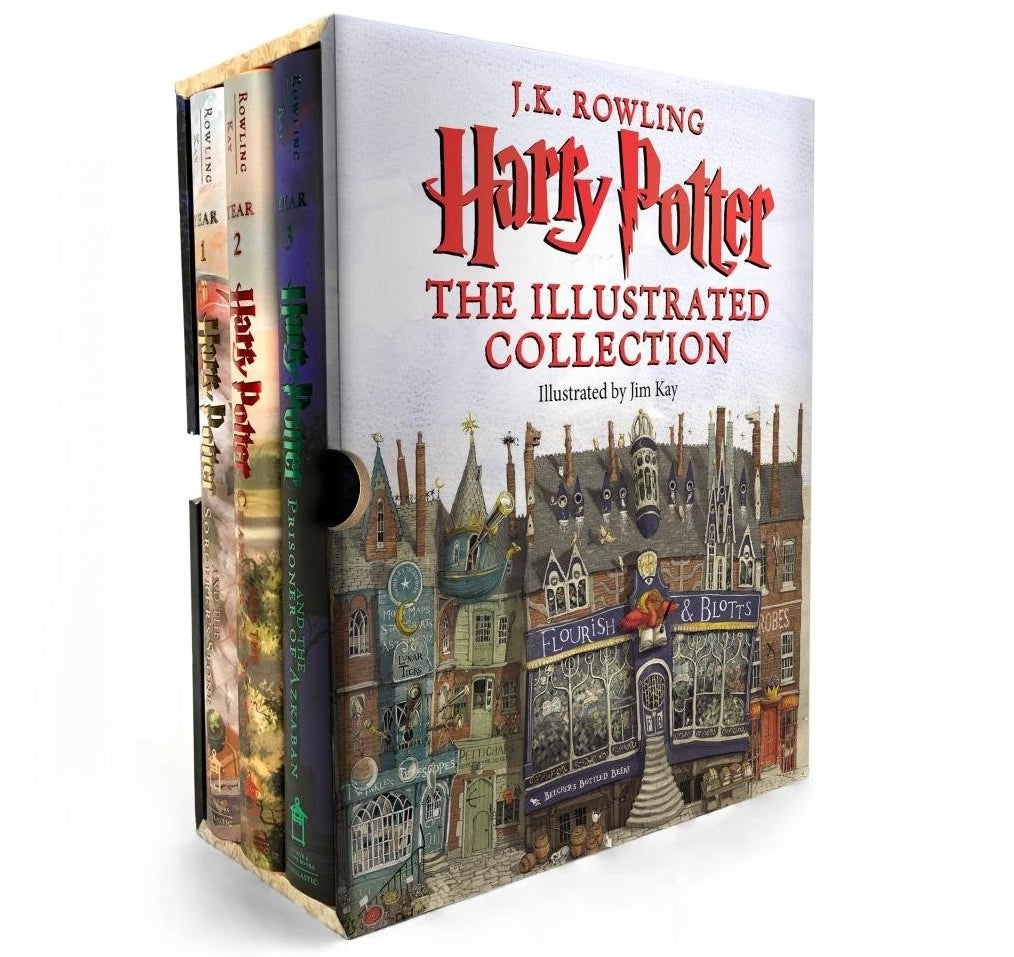 "The three Harry Potter books in a cardboard case with ""The Illustrated Collection"" on it"