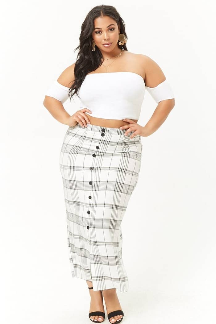 1f453ea6177 A plus-size plaid maxi skirt to wear with a denim jacket or a turtleneck  for the season.
