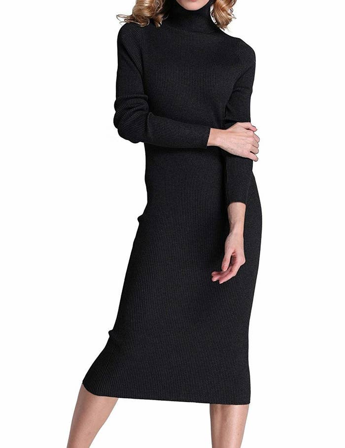 d4d49803c8e A comfy and totally cozy turtleneck midi dress easily worn alone or layered  up...it s a chic AF dress you ll throw on in a million ways.