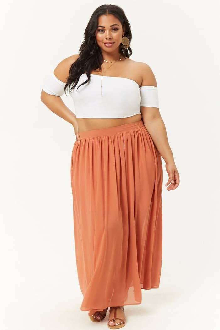 f7e1713a467 A plus-size Chiffon maxi dress that ll pair amazingly with ankle booties  and a sweater.