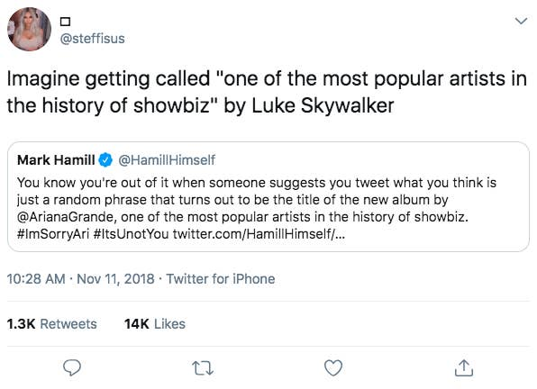 Ariana Grande And Mark Hamill's Nerdy Twitter Interaction Is
