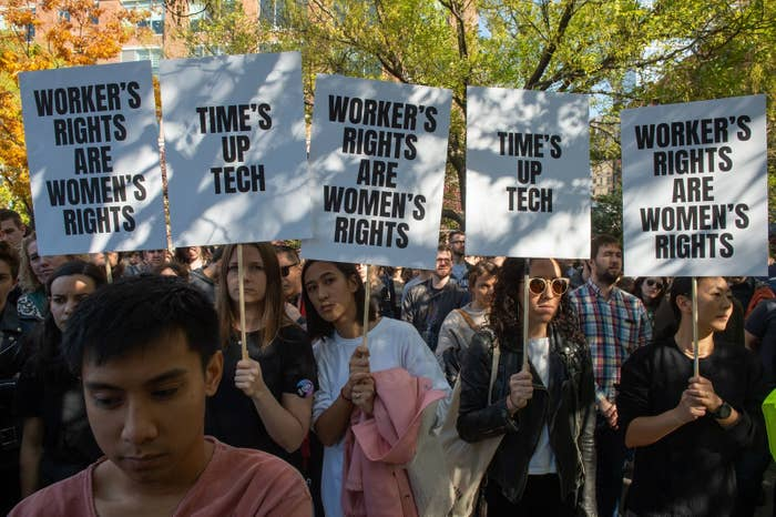 Google employees stage a walkout on Nov. 1 in New York over sexual harassment.
