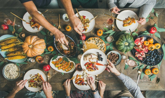 If you know exactly how many people are gathering at your table, try to cook with that number in mind. It's easy to go overboard at Thanksgiving and worry that 50 pounds of mashed potatoes won't be enough for everyone, but if you stick to reasonable portions for each guest, you'll avoid excess food from the start and won't wind up tossing a ton into the garbage. These charts can help you figure out how much to serve.