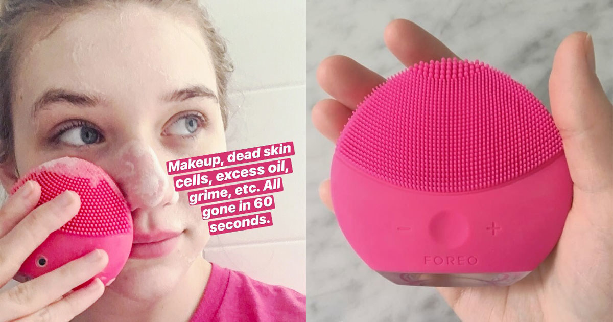 """Me using the Luna 2 on my face with face cleaner lathered on, with text """"makeup, dead skin cells, excess oil, grime, etc. All gone in 60 seconds"""", and me showing the device in my hand"""