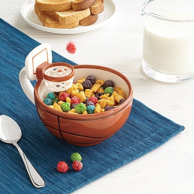 A basketball bowl with a hoop for cereal