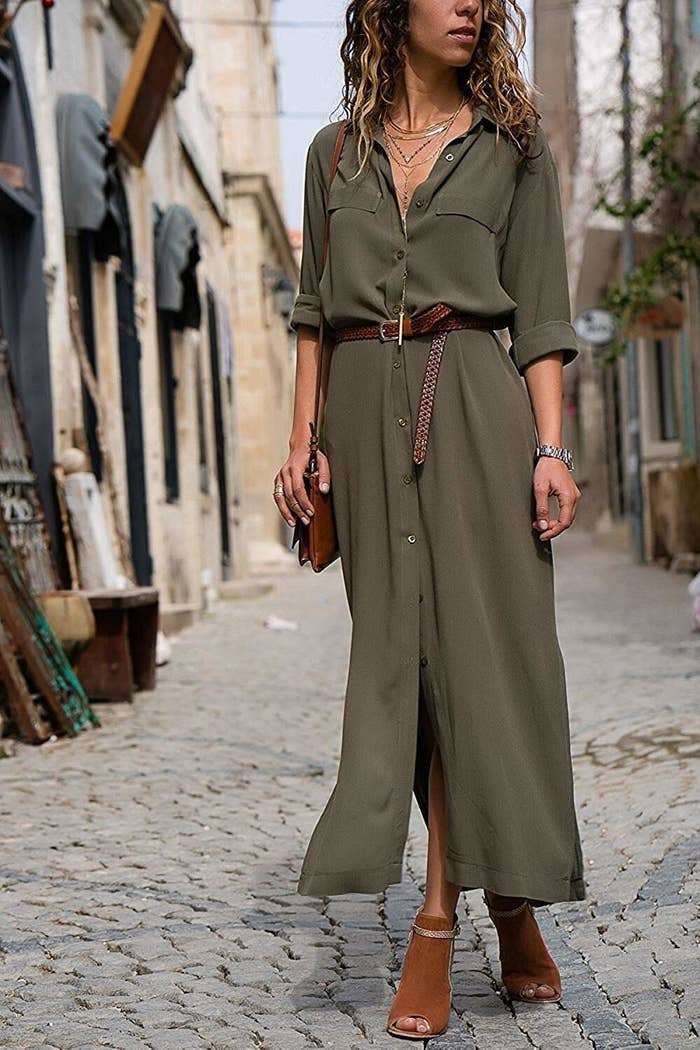 20402ad87a9 A casual button-down maxi shirtdress perfect for that