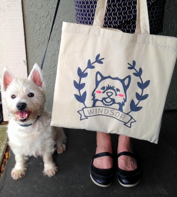 tote bag with illustrated dog and name