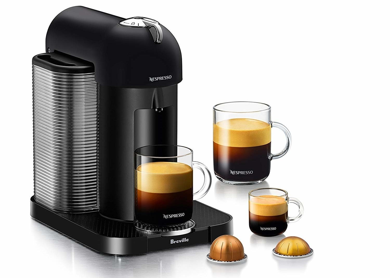 The black nespresso machine with mugs showing the three drink sizes
