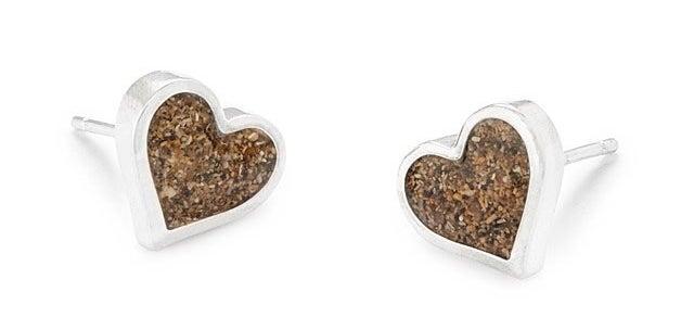 heart shaped earrings with beach sand inside