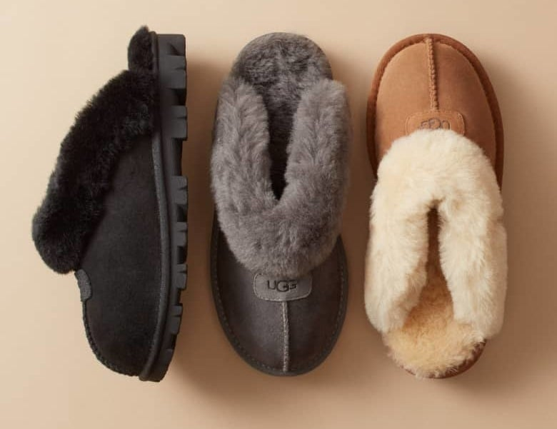 The slide slippers in black, grey, and camel