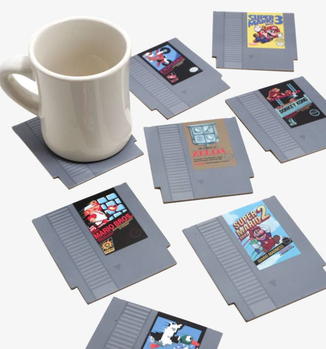bc724bf2eb983 A set of NES coasters so he can wax poetic about his OG standbys without  compromising the coffee table finish.
