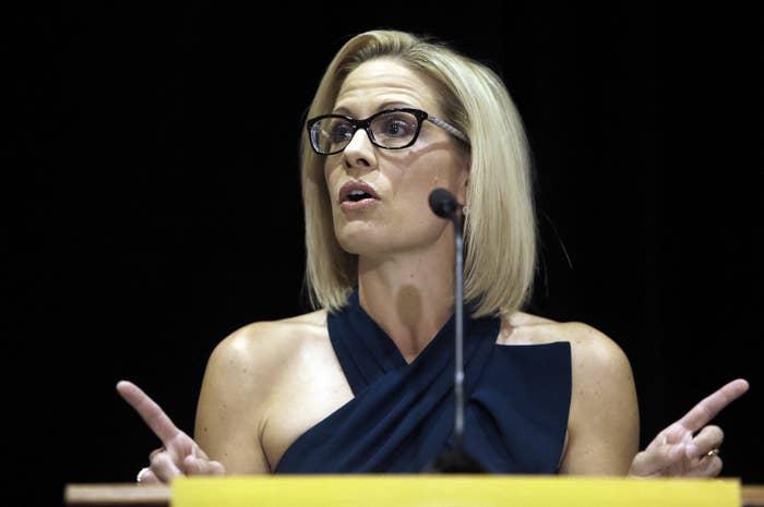US Senator-elect Kyrsten Sinema speaks after being declared the winner Monday in Arizona's Senate race.