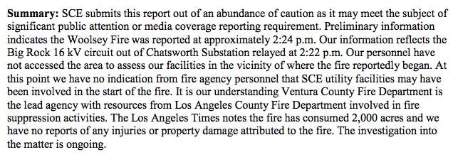 A portion of the report submitted by SoCal Edison.