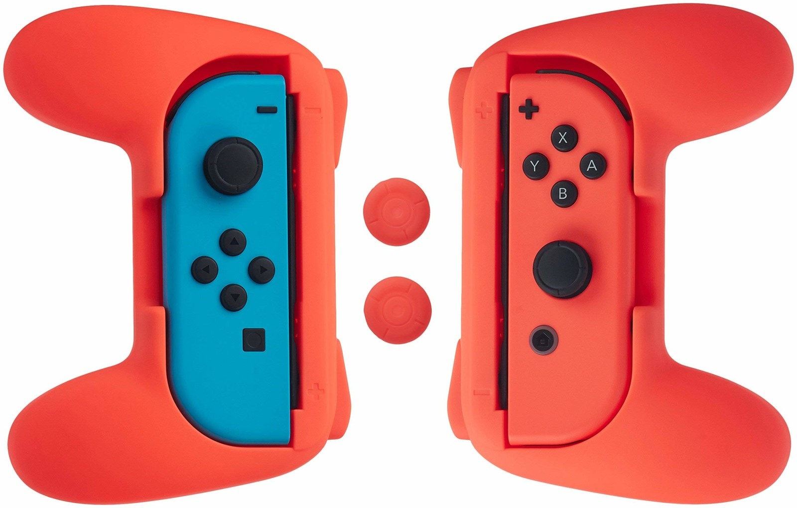 two joy cons in holders