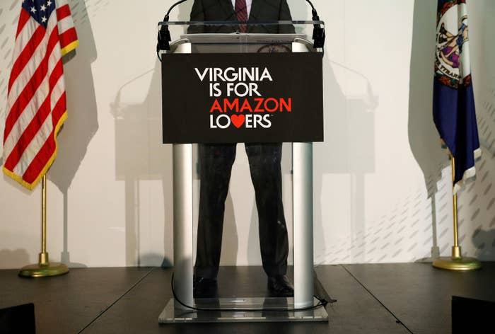 Virginia Gov. Ralph Northam speaks at a news conference after the announcement that Crystal City had been selected as home to Amazon's new headquarters in Arlington, Virginia.