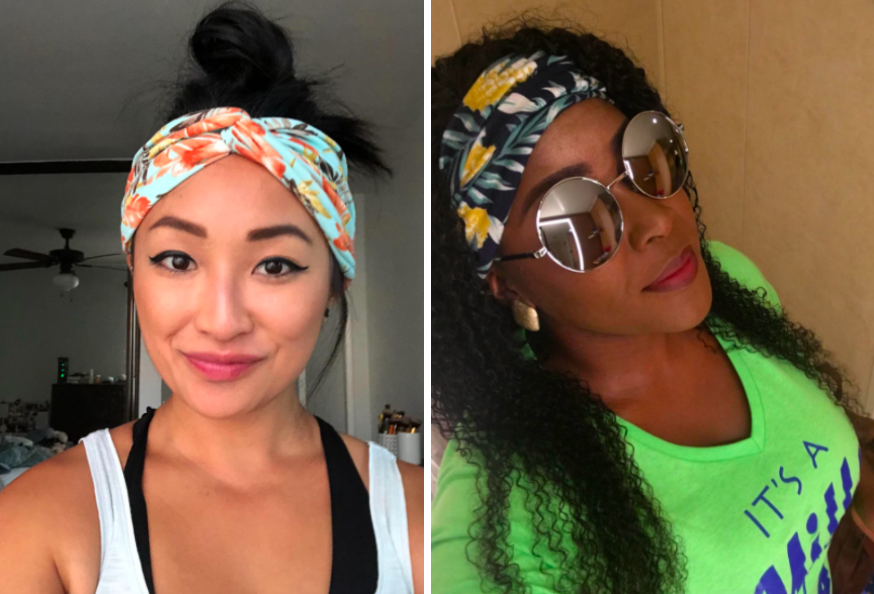 two different reviewers wearing the headbands, one with their hair up and one with it down