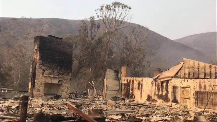 Charred remains of buildings at Camp Hess Kramer were left behind by the Woolsey fire.