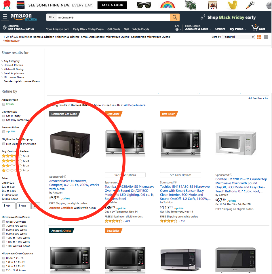 """The AmazonBasics microwave with Alexa is currently the #1 search result for """"microwave"""" on the platform."""