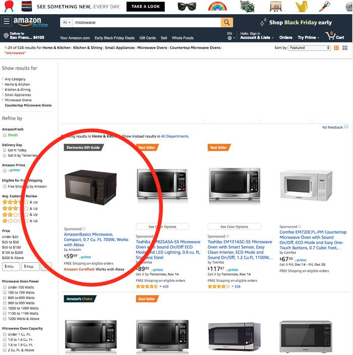 "The AmazonBasics microwave with Alexa is currently the #1 search result for ""microwave"" on the platform."