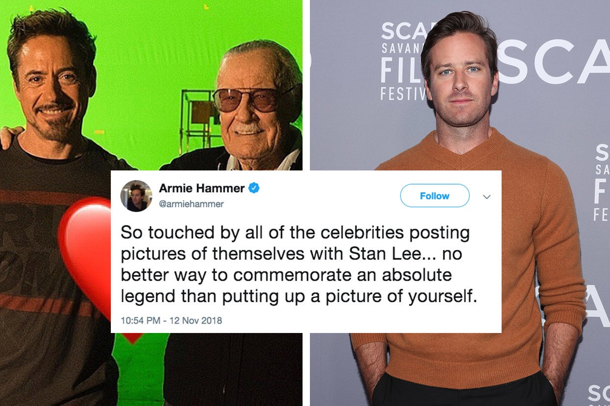 People Are Mad At Armie Hammer For His Comments About Celebrities Paying Tribute To Stan Lee