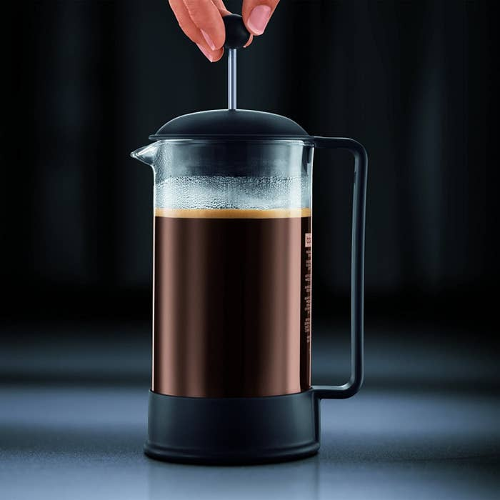 """Promising review: """"This French press works perfectly for me. I'm a coffee snob and just can't drink the coffee provided at work. I use my press at work, and I'm toying with the idea of buying another to use at home. Coffee made in the press is so delicious."""" —LN8182Price: $16.96 (available in black and red)"""