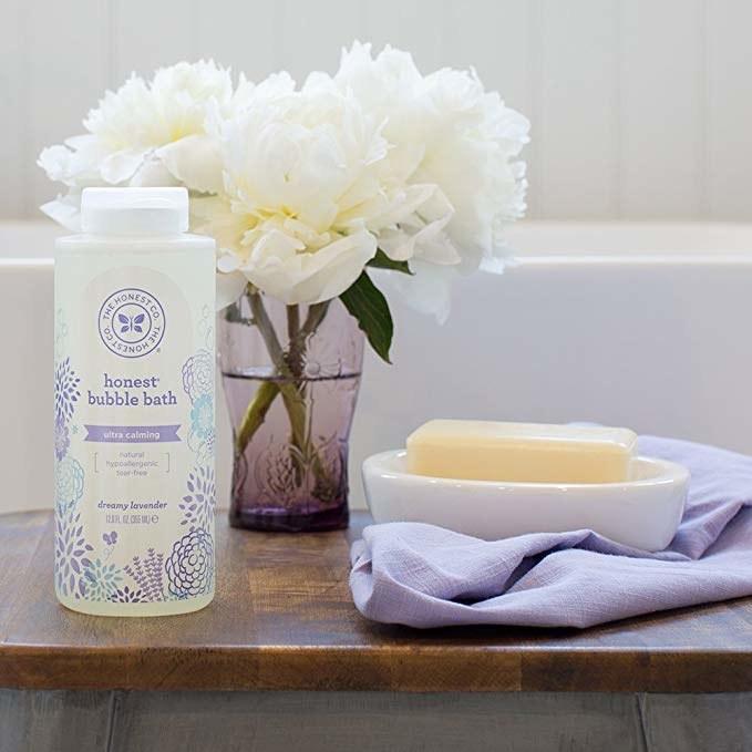 "Bottle of Honest bubble bath in ""dreamy lavender"""
