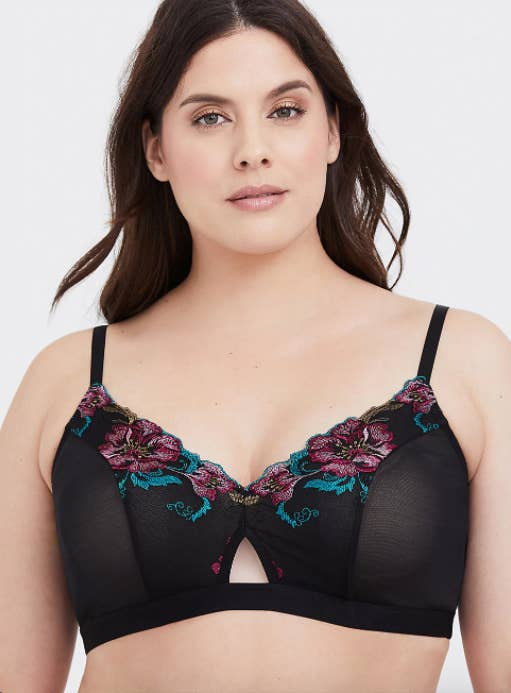 0988bda5afb34 A mesh bralette complete with mesh embroidery to add a touch of floral to  your wardrobe. Even when it s not