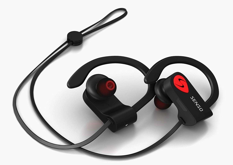 A pair of Senso performance Bluetooth headphones