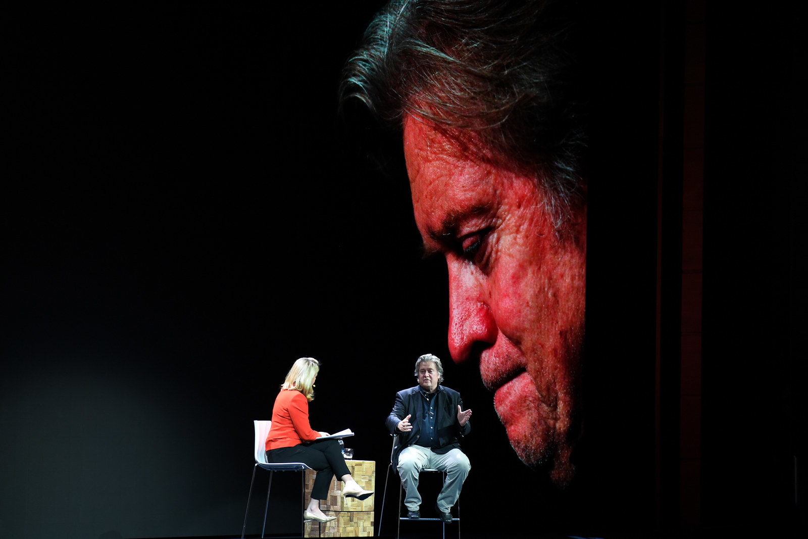 Steve Bannon being interviewed by Sarah Smith from the BBC on November 14, 2018 in Edinburgh, Scotland.