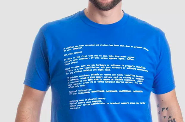 """""""Blue screen of death"""" graphic t-shirt won on model"""