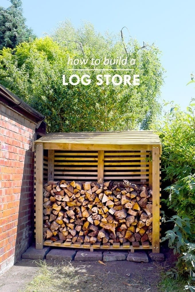 A blogger's three-sided, roofed log store, filled about halfway with chopped wood