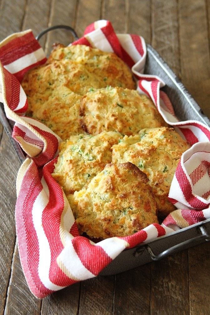Using store-bought cornbread mix makes these biscuits a cinch to throw together. Get the recipe.