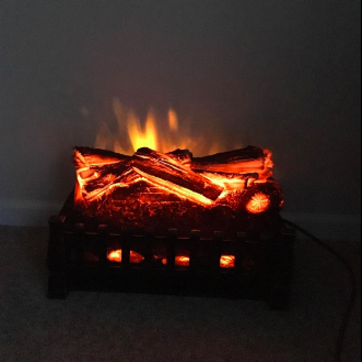 A closeup of the electric fireplace in use