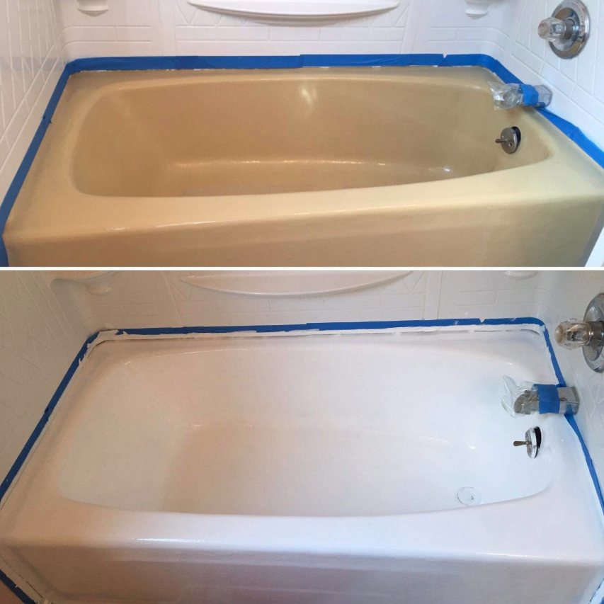 Before: and old light brown tub; After; the same tub, now white and shiny