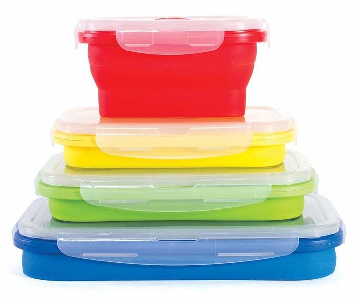 """Promising review: """"These are the best! Such a great space saver and perfect for so many smaller portions I need to save. They even work as your own to-go cartons so your leftovers will be fresh when you get home. This is my third set. I am replacing all storage dishes in my cupboard. Looking for larger sizes next."""" —Ann M.Get them from Amazon for $19.99."""