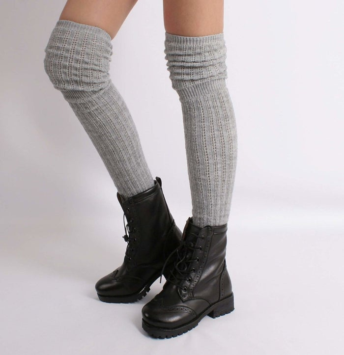 """Promising review: """"If only regular socks fit as well: there's no bunching in the heel. I am 5'2"""" and these pulled up come to about mid-thigh on me. They're so comfortable, soft and warm. I usually like to be barefoot once home, but I was actually able to keep these on."""" —pggysuGet them from Amazon for $11.90 (available in three colors)."""