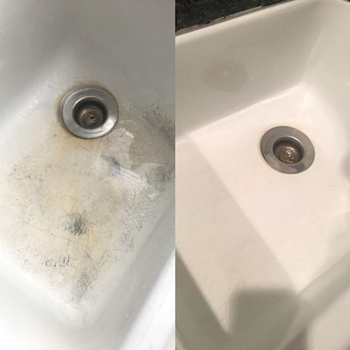 Reviewer photo showing before-and-after results of using Bar Keeper's Friend Soft Cleanser on sink