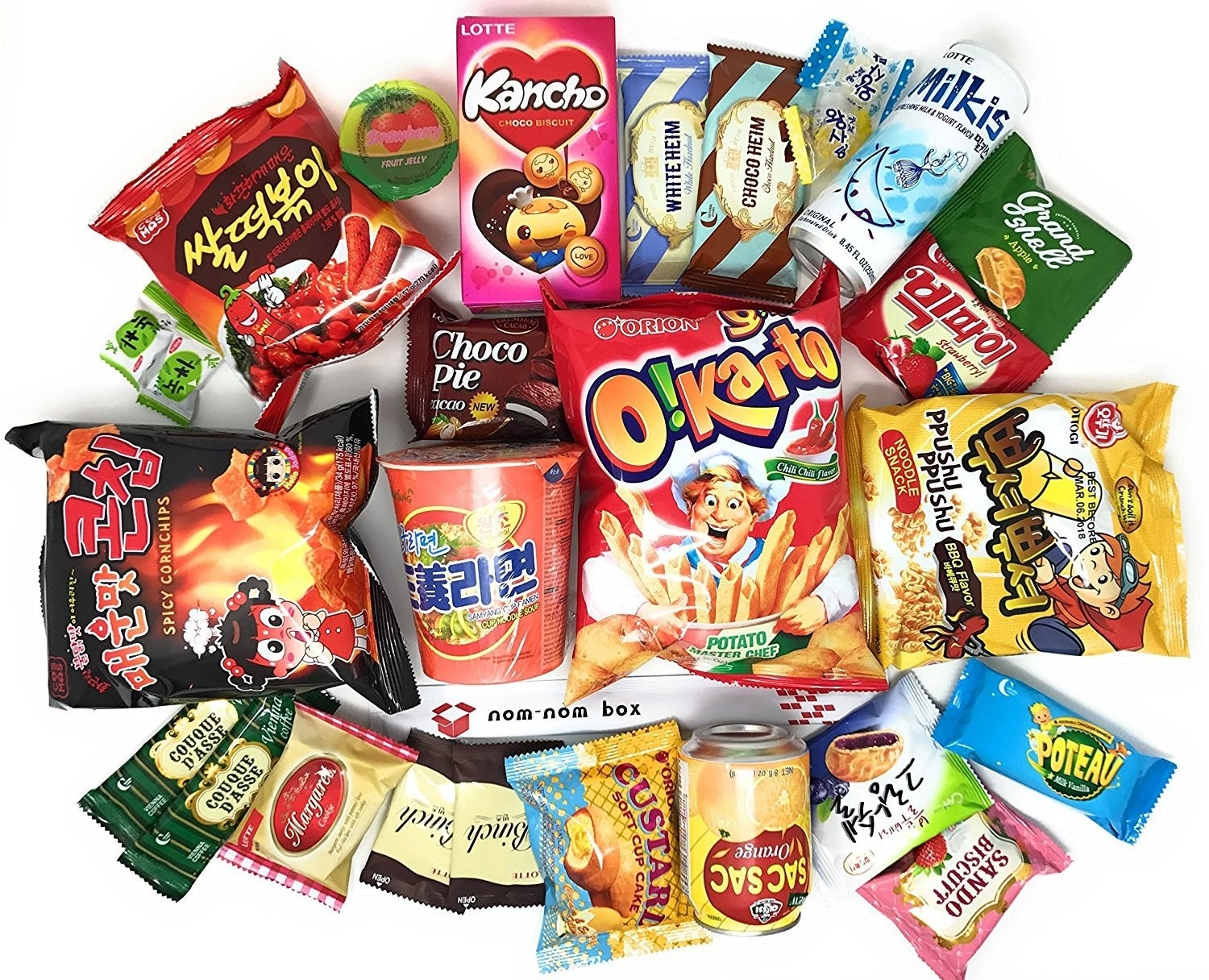 assortment of korean snacks