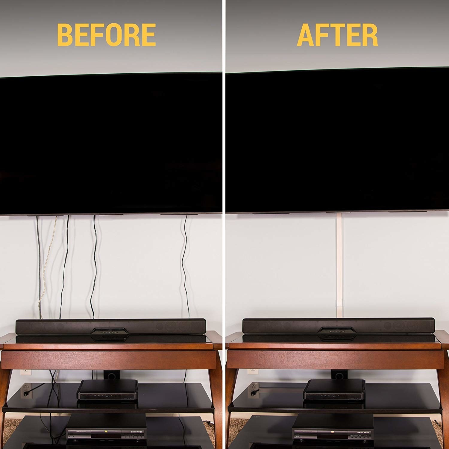 before: a TV hung on a wall with four black cables dangling from the bottom; after: the same setup, except there's a thin white plastic tube coming from the bottom of the TV