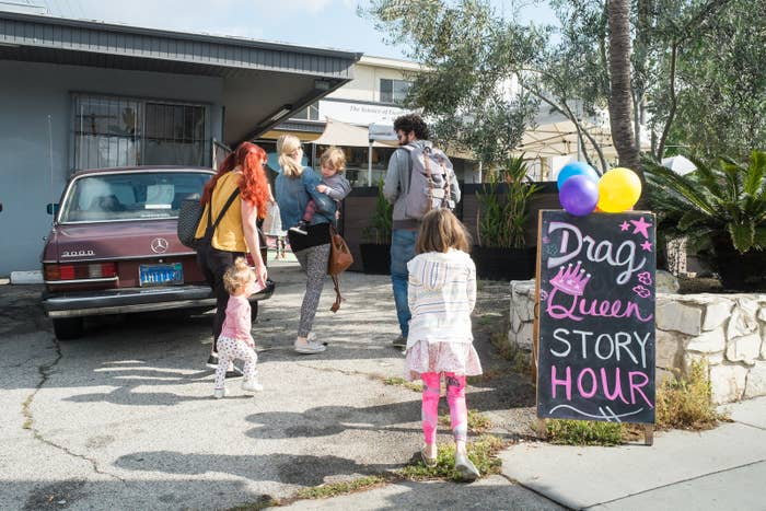 Drag Queen Story Hour is held at a children's activity center in Eagle Rock, Los Angeles.