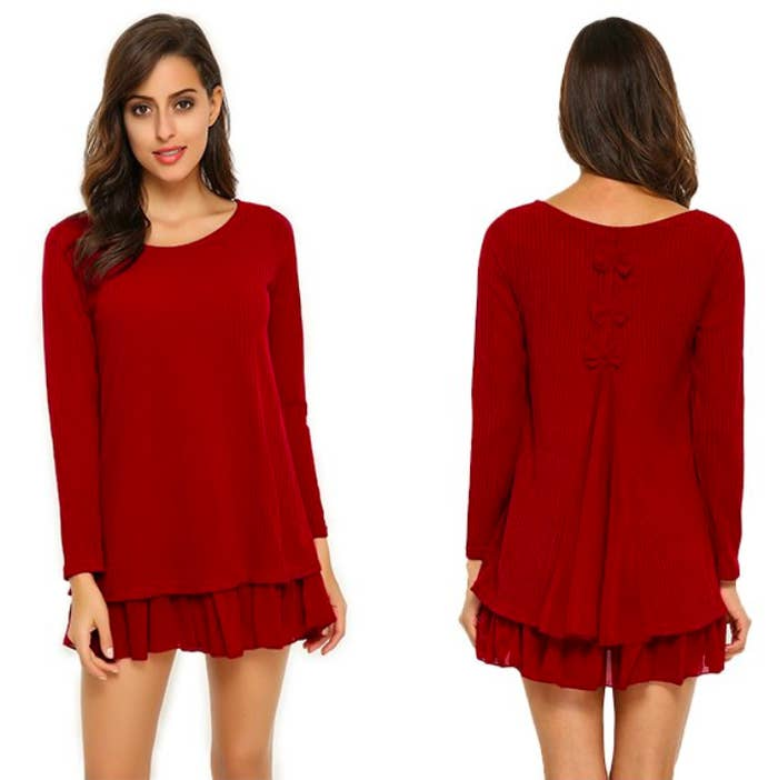 1562bef8d0a A mini dress whose bows make you look like a  lil gift. Pair with black  tights to become a LITERAL stocking stuffer.