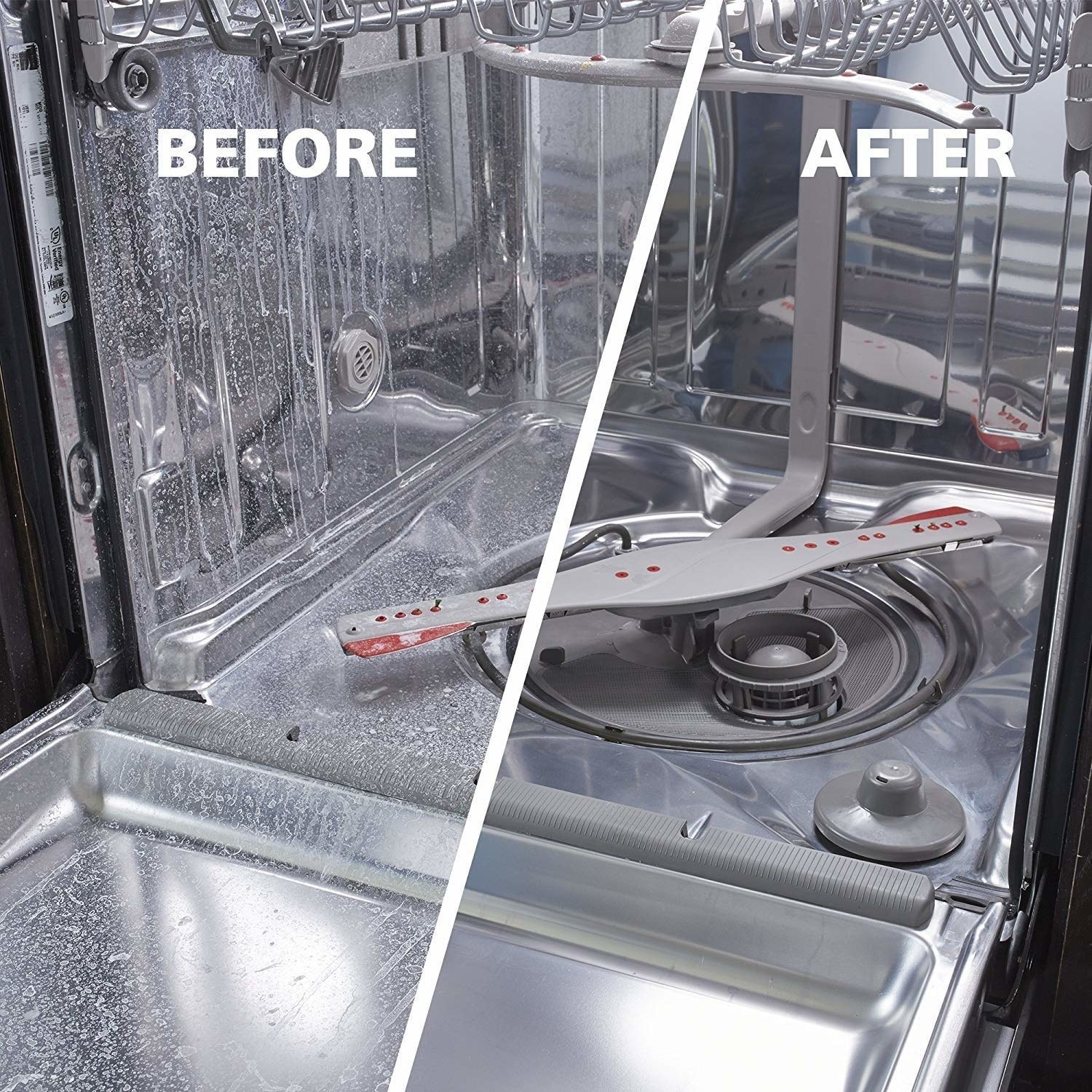 Before-and-after photo showing results of using dishwasher cleaner