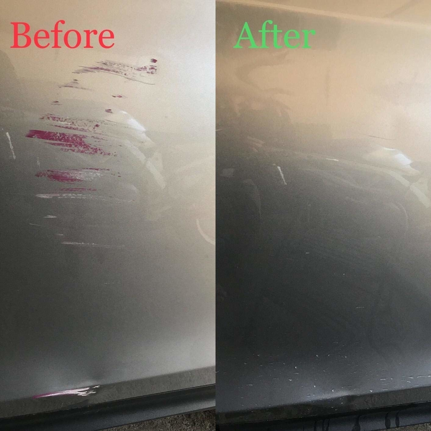 Reviewer's before and after photos showing the scratch remover got rid of purple-red scratch makrs on their silver car